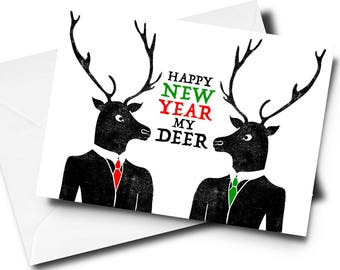 Funny New Years Card, Funny Christmas Card, Funny Xmas Card, Funny Card, Reindeer Card, Holiday Card, Happy Holidays, Merry Christmas
