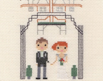 Large Wedding Custom Portrait in Pixel Cross Stitch (Framed)