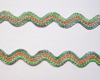 Lime Orange Green SILVER Metallic Rick Rack Ribbon Zig Zag Trim Ric Rac Sewing Tape Lace Craft 3 Yards