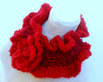 Neck Warmer  in Ruby Red andvery Soft with Flower for Button.