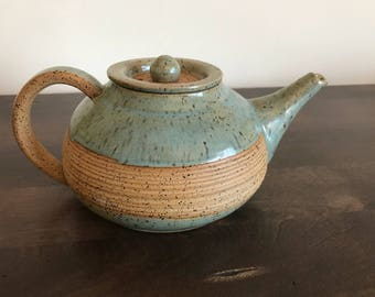 Handmade, wheel thrown, aqua green and speckled brown clay, earthy teapot