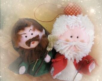 St Nicholas and his friend cake topper felt ornament - felt dolls softies for decoration and home decor Sinterklaas Christmas