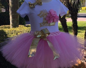 pink and gold,birthday outfit,tutu,1st birthday,1st birthday onesie,1st birthday outfit,first birthday,birthday onesie,girl outfit,1 year