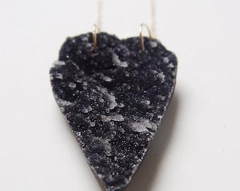 Black Druzy Heart Necklace Gold OOAK