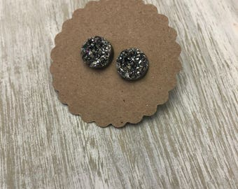 12mm Chunky Charcoal Faux Druzy Studs