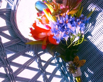 Colorful Exotic Tropical Dazzling Coral Turquoise Toss Bridal Bouquet