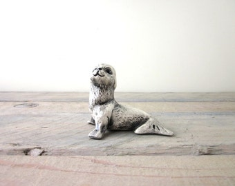 Vintage Gray Pottery Seal Figurine