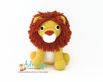 Crochet Lion- Stuffed Lion- Lion Plush- African Animals- Safari Animals- Big Cats- Handmade Lion- Crochet Toy- Jungle Animals- Made to Order