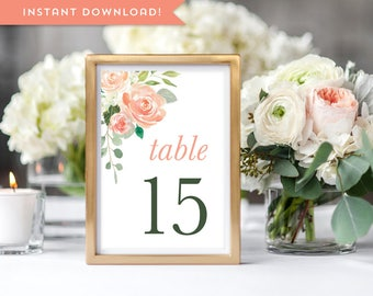 Printable Wedding Table Numbers Floral Wedding Table Decor Rustic Table Numbers 1-40 4x6 5x7 Peach Rose Reception Table Number Template