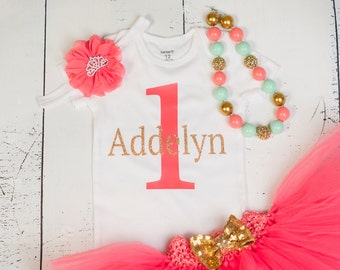 CORAL MINT and GOLD Birthday Outfit, Girls Princess 1st Birthday, First Birthday Outfit, 1st Birthday Outfit, Baby Girl Birthday Outfit