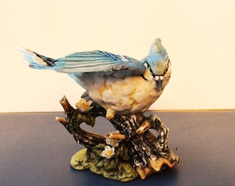Vintage Home Interiors 1985 Masterpiece Porcelain Collectible Figurine ~ Blue Jay