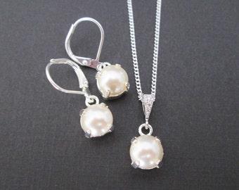 Swarovski White Pearl Bridesmaid Set/White Pearl Junior Bridesmaid Jewelry/Pearl Flower Girl Jewelry/Petite Pearl Drop Earrings/Bridal