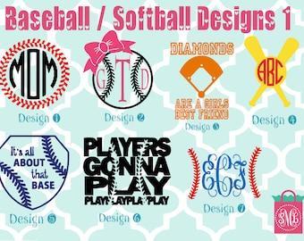 Baseball / Softball vinyl decals - monogram decals - monogrammed decals - Baseball stickers - softball sticker - bat - baseball decals