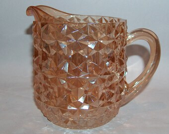 8109: Vintage 1940s Jeanette Glass Holiday Pitcher Milk Juice Buttons & Bows Marigold Depression Glass at Vintageway Furniture