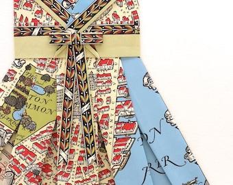 "BOSTON Map Dress - CUSTOM Hand-Folded Map Dress - 18"" x 24"" - Choose your Style! - Nursery Wall Decor Art"