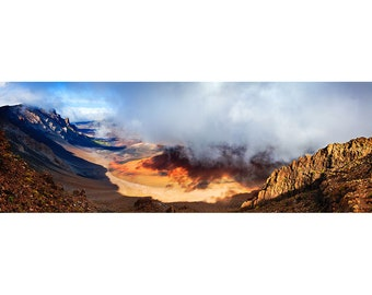 Haleakalā Volacanic Crater National Park, Maui Hawaii, Color Matted Photograph in a Wood Frame