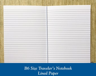 B6 Size Lined Paper Traveler's Notebook Insert