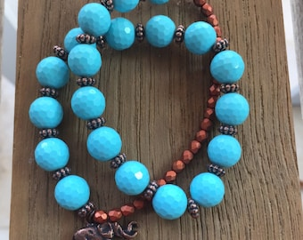 FINAL SALE - Double Wrap Stretch Turquoise and Copper Bracelet