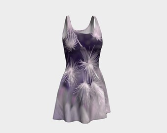 Flare Dress, Skater Dress, Teen Clothing, Purple dress, Reversible dress, Purple Flare Dress, Dandelion Skater Dress, Spandex Mini Dress