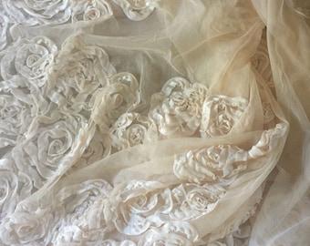 Vintage Netting Tulle Velvet Ribbon Roses Fabric