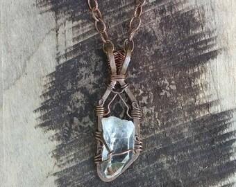 Illuminate - Quartz on Hammered Copper, Necklace