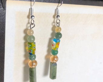 Glass and Stone earrings - Floral, green