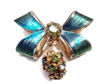 Vintage Weiss Bow Brooch Enamel And Rhinestone Dangle