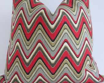 Chevron Grey Red Decorative Pillow Covers, Zig Zag Pillow Cover, Red Gray Yellow Brown Pillow, Chevron Pillow, Red Chevron Pillow