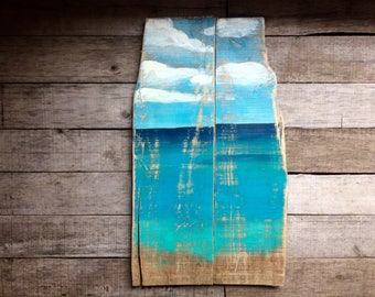 Ocean Painting Reclaimed Wood Wall Art for Beach House Shabby Chic Ocean Art