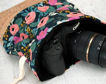 DSLR Camera Bag - Gift for Photographer Birthday - Makeup Bag - Canon Sack Camera Bag - Camera Bag for Women - Cosmetic Bag - Peony (Navy)