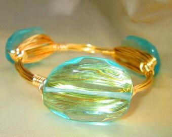 BALI BLUE  glass wire-wrapped bangle, bracelet,