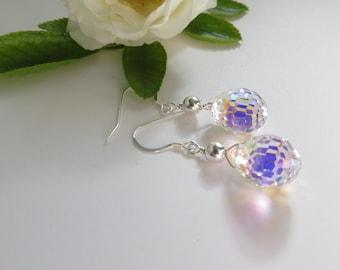 Swarovski Crystal Earrings, Swarovski Earrings, Christmas Disco Ball Earrings, Sterling Silver Earrings, Crystal AB Teardrop Silver Earrings