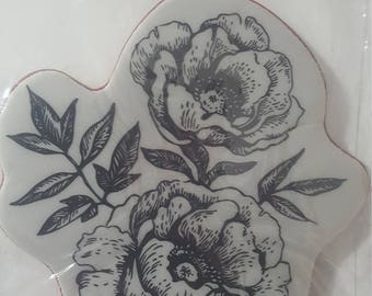 """Hero Arts Clings""""Etched Flowers"""" clear stamp"""