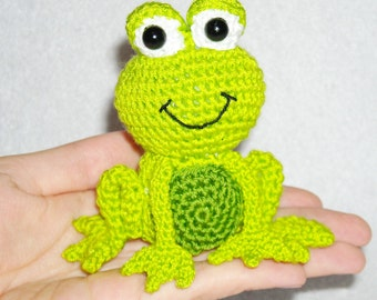 Crochet frog little green amigurumi fairy tail baby shower gift doll frog stuffed animal frog plush baby nursery kawaii kiss the frogwedding