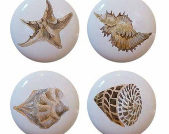 Set of 4 Ceramic Seashells Sea Shells Knobs for Furniture Cabinets Drawers