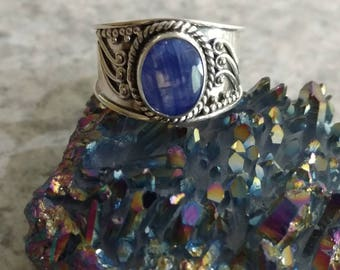 Kyanite and Blue Topaz Ring Size 8 1/2