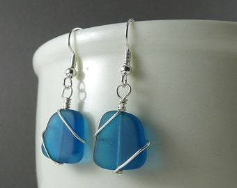 Blue seaglass earrings wire wrapped jewelry sea glass jewelry sea glass earrings glass beads sterling silver handmade beaded jewelry