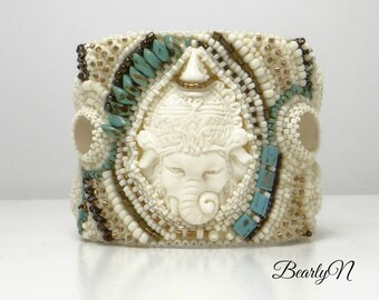 Bead embroidered cuff bracelet, boho chic style, hand carved bone Ganesha, god elephant, gift for her