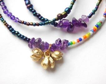 Amethyst Bells Waist Beads, Purple Little Bells Waist Beads, African Waist Beads, Belly Beads, Amethyst Waist Chain, African Belly Beads