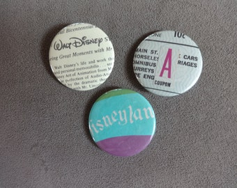 Vintage Disneyland Park Ticket Button (Pin) 3 Piece Set