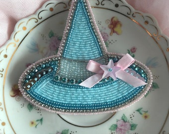 Blue beaded witch hat brooch