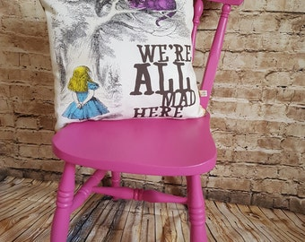 Handmade Alice In Wonderland 'We're All Mad Here' Cushion With Or Without Inner