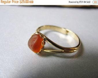 Mothers Day Sale Authentic Sea Glass Jewelry -Amber Sea Glass - Sea Glass Ring - Goldtone Ring - Beach Glass Jewelry-Prince Edward Island Me