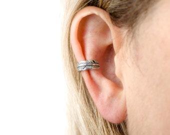Feather Ear Cuff Earring Sterling Silver Ear Wrap Earrings Boho Jewelry - ECU007