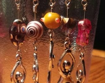 Woman Earrings with abstract beads, plus fundraiser for planned parenthood
