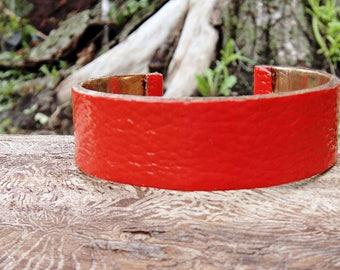 Burnt Orange Jewelry,Orange Bracelet,Leather Bracelet,Orange leather accessories,Leather gift for her,leather cuff,classy,Handmade,bright