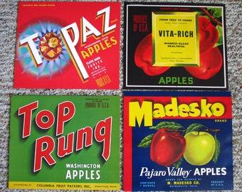 19 different Old Vintage FRUIT CRATE LABELS topaz,gee whiz,sno-gem,top rung,buddy,dahn-d,indian chief etc...
