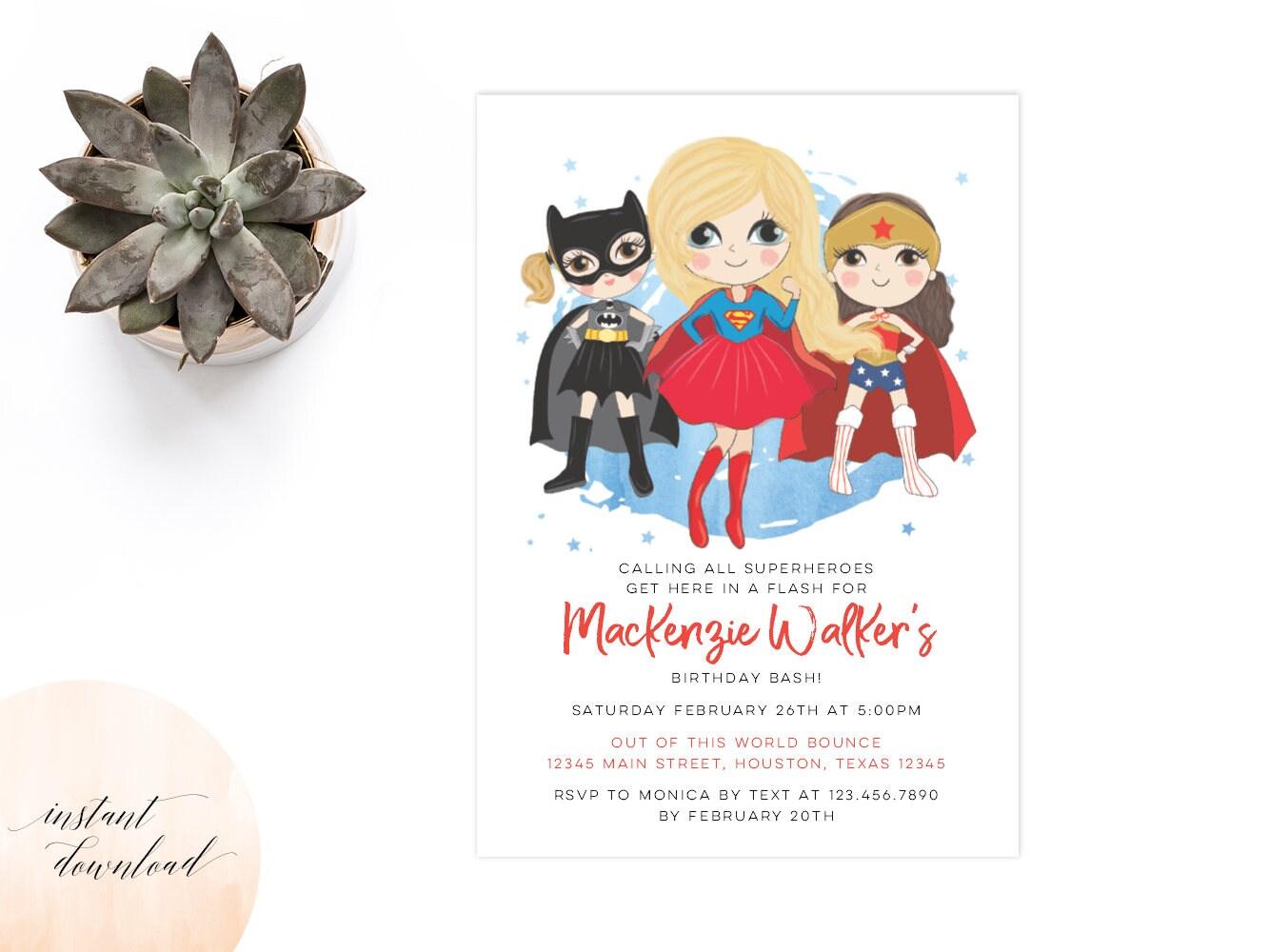 girl superhero invitation birthday invitation invitation