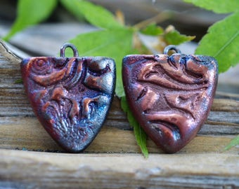 Tooled Leather- Handmade Porcelain Raku Bead Pair