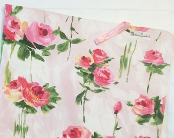 Travle Changing Mat, Changing Pad, Baby Girl, Wipeable, Waterproof, Large, Baby Shower, Floral, Roses, Pink, Green, White, Vinyl, Cotton